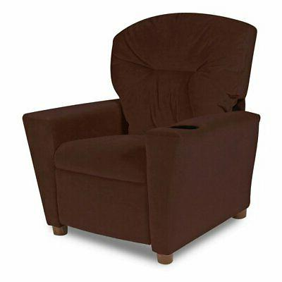 kid recliner with cup holder microsuede