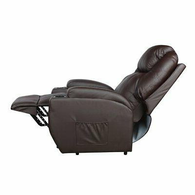 Manual Leather Recliner Rivet Decor Wide Padded Seat