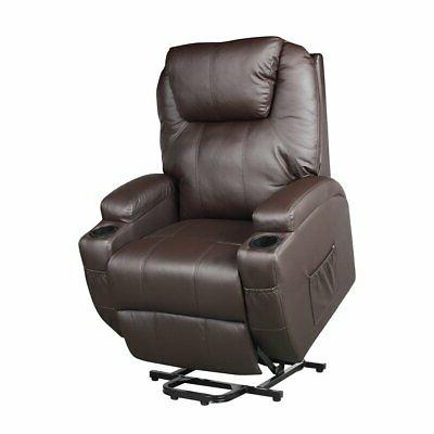 manual leather recliner chair rivet decor wide