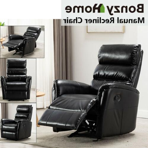 Glider Rocker Recliner Chair Air Leather Padded Seat Living