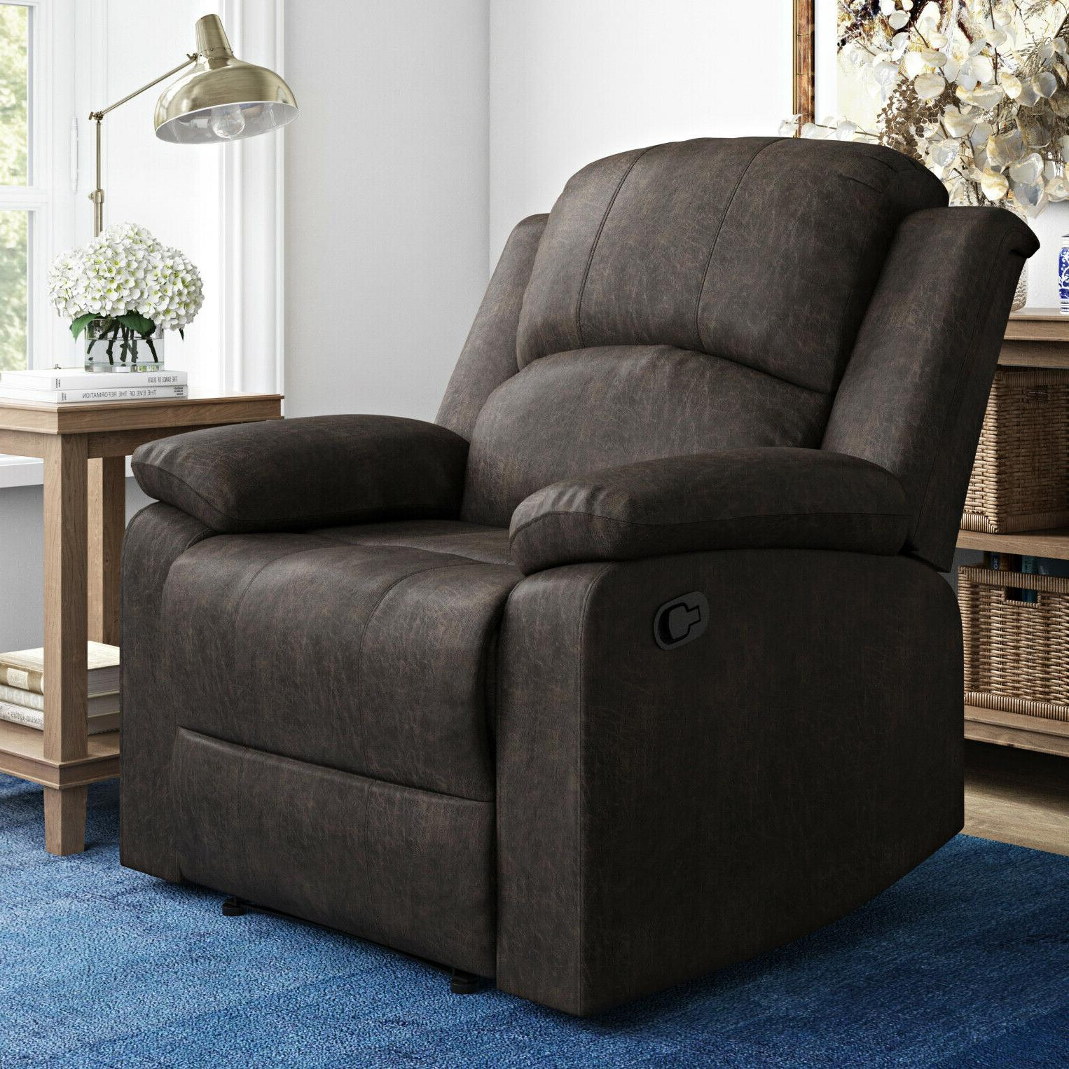 manual recliner large armchair faux suede lifestyle