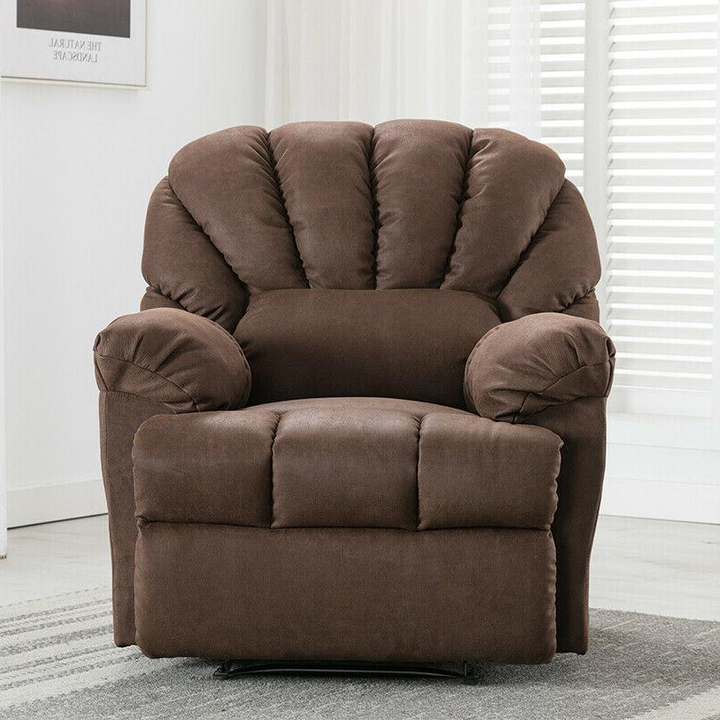 Manual Recliner Sofa Living Soft Padded Seat Brown