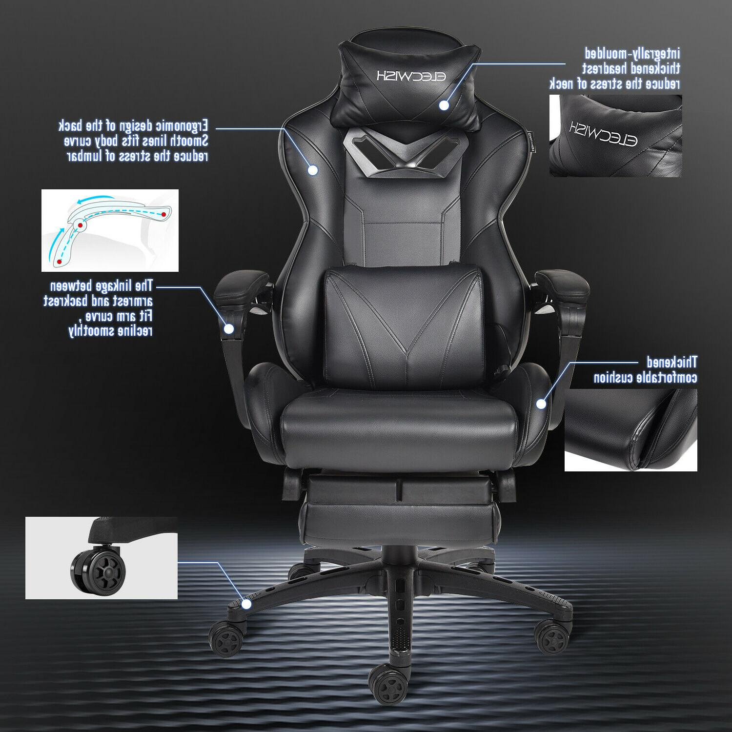 Massage Chair Desk Racing Rocker Swivel Recliner Seat Footrest