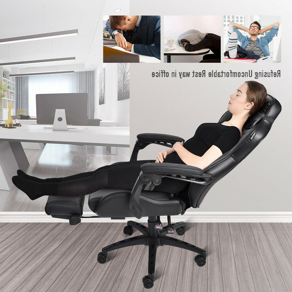 Massage Gaming Desk Recliner Seat Footrest