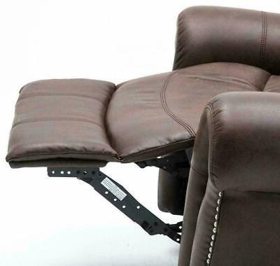 Modern Manual Recliner Swivel Suede Leather Brown