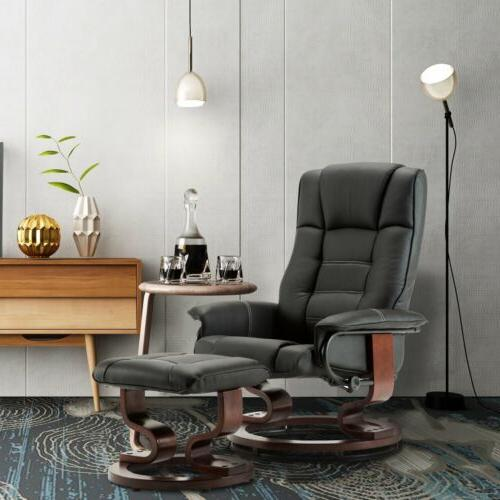 modern new leather swiveling recliner chair