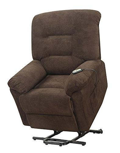 Coaster Fabric Upholstered Power Lift Recliner, Chocolate
