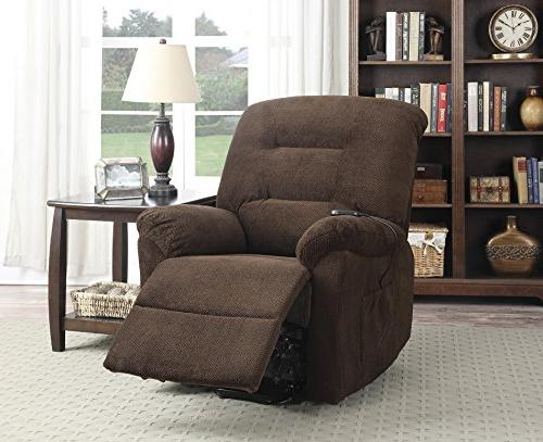 Coaster Casual Upholstered Lift Recliner, Chocolate