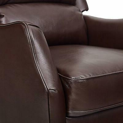 """Ravenna Faux Leather Recliner, 29.9""""W, Brown"""
