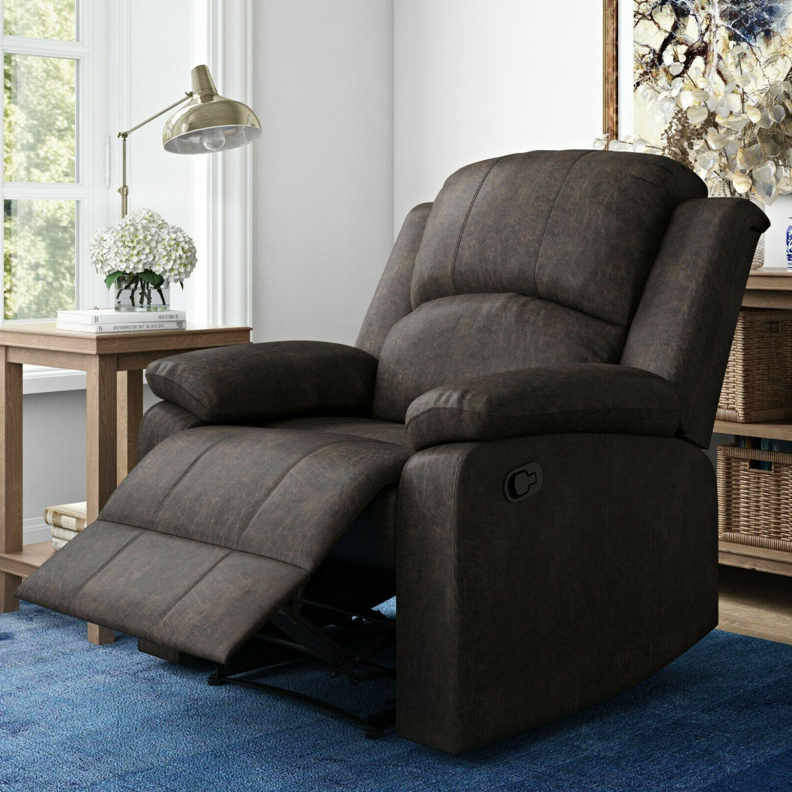 recliner armchair manual recline 3 positions brown