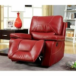 Bowery Hill Leather Glider Recliner in Red