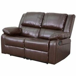 Flash Furniture Harmony Leather Reclining Loveseat in Brown