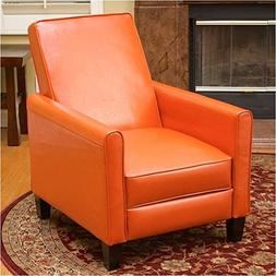 BOWERY HILL Leather Recliner Chair in Orange