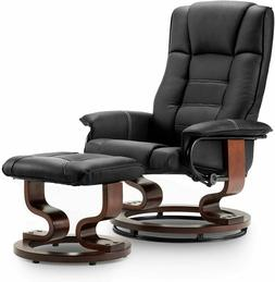 Mcombo Recliner with Ottoman Faux Leather Swivel Reclining C