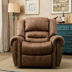 Manual Leather Recliner Padded Durable Classic Oversized Lux