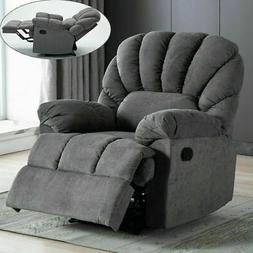 Manual Overstuffed Recliner Chair Thick Wide Back Seat Padde