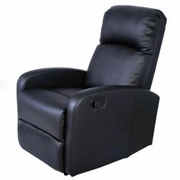 Manual Recliner Chair Black Lounger Leather Sofa Seat Home T