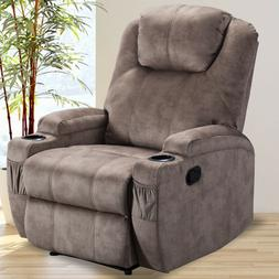Manual Recliner Chair Soft Fabric Sofa Armchair Cup Holder H