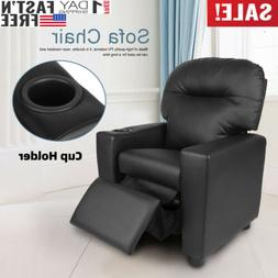 Manual Recliner Chair PU Leather Sofa Padded Durable Living