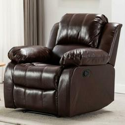 Manual Recliner Chair Sofa Leather Living Room Furniture Ove