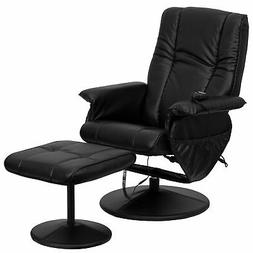 Massaging Black Leather Recliner and Ottoman with Leather Wr
