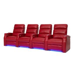 Barcalounger Matrix Home Theater Seating Red Leather Row of