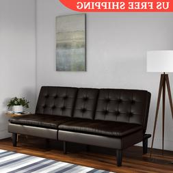 Modern Faux Leather Futon Sofa Bed Fold Up & Down Recliner C