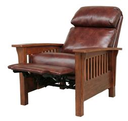 BarcaLounger Mission Manual Recliner Chair Genuine Leather C