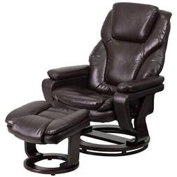 Multi-Position Recliner and Ottoman with Swivel Mahogany Woo
