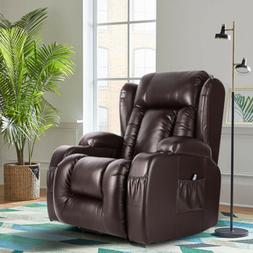 Oversize Leather Massage Recliner Chair Heated Rocking Vibra