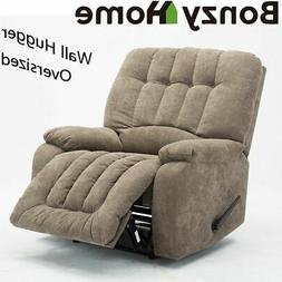 Oversized Wall Hugger Soft Fabric Recliner Chair Pull Manual