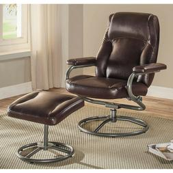 Mainstays Plush Pillowed Recliner Swivel Chair and Ottoman S