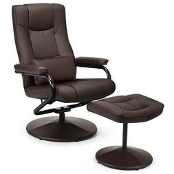 Recliner Chair Leather Swivel Armchair Lounge with Ottoman&L