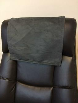 Recliner Head Rest Cover Suede faux Charcoal grey 14x30 Sofa