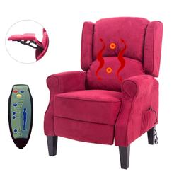 Recliners With Heat And Massage Chair Heated Vibrating Red P