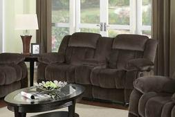 Reclining Loveseat with Console in Cocoa Brown Finish