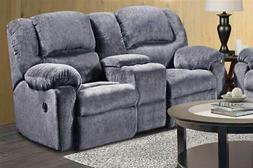 Reclining Loveseat with Console in Kelly Gray