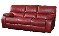Red Leather Gel Double Reclining Sofa Modern Homelegance Pec