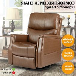 Rocking Chair Recliner Sofa with Massage Heat Vibration Blac