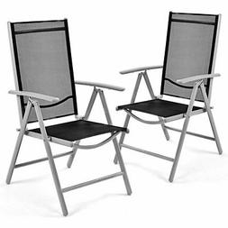 Set of 2 Patio Folding Chairs Adjustable Reclining Indoor Ou