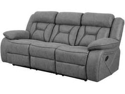 STONE GREY FAUX SUEDE RECLINING SOFA COUCH LIVING ROOM FURNI