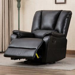 Swivel Glider Recliner Chair Extra Wide Backrest Leather Pad