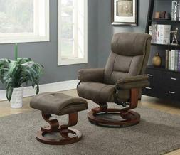 Upholstered Glider Recliner With Ottoman Brown