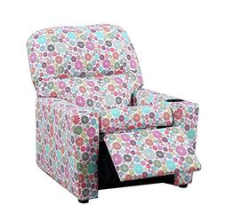 MALKO Upholstered Kids Recliner Children Sofa with Cup Holde