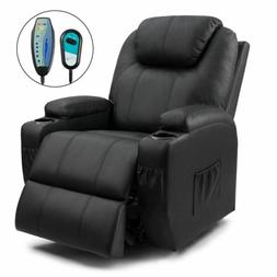 Walnew Power Lift Recliner with Massage and Heat, Black Faux