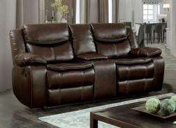 Furniture of America Westfield Breathable Leatherette Love S